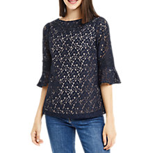 Buy Oasis Lace Trim Flute Blouse, Navy Online at johnlewis.com