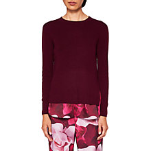Buy Ted Baker Elodie Porcelain Rose Mock Hem Jumper, Maroon Online at johnlewis.com