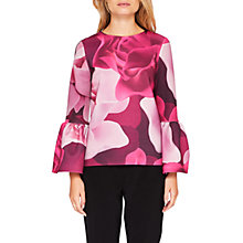 Buy Ted Baker Toepal Porcelain Rose Bell Sleeve Top, Maroon Online at johnlewis.com