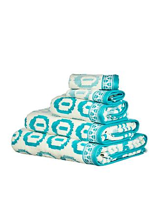 John Lewis & Partners Ikat Agra Cotton Towels, Lagoon