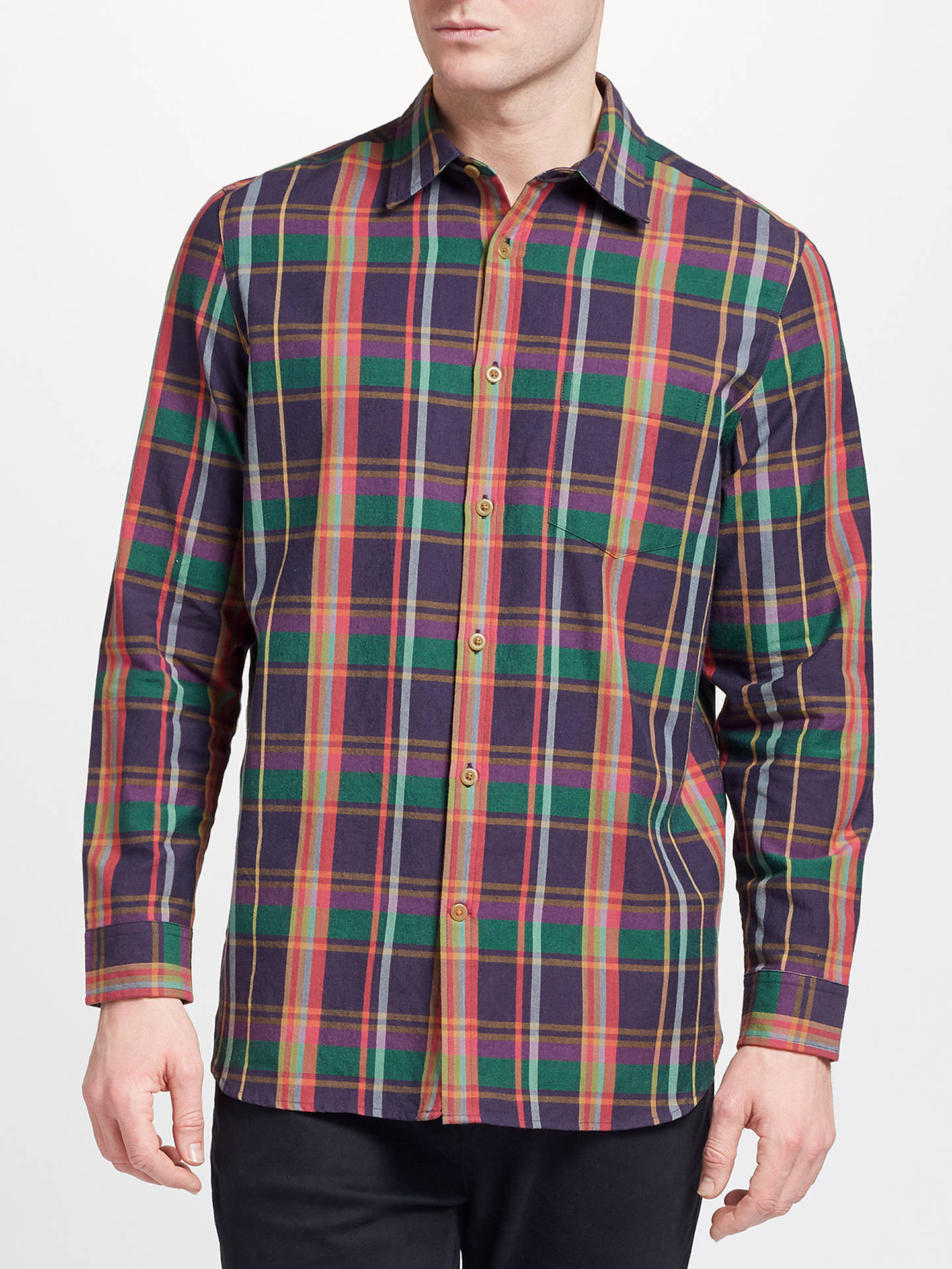 BuyJohn Lewis & Partners Ellery Check Shirt, Green/Pink, S Online at johnlewis.com