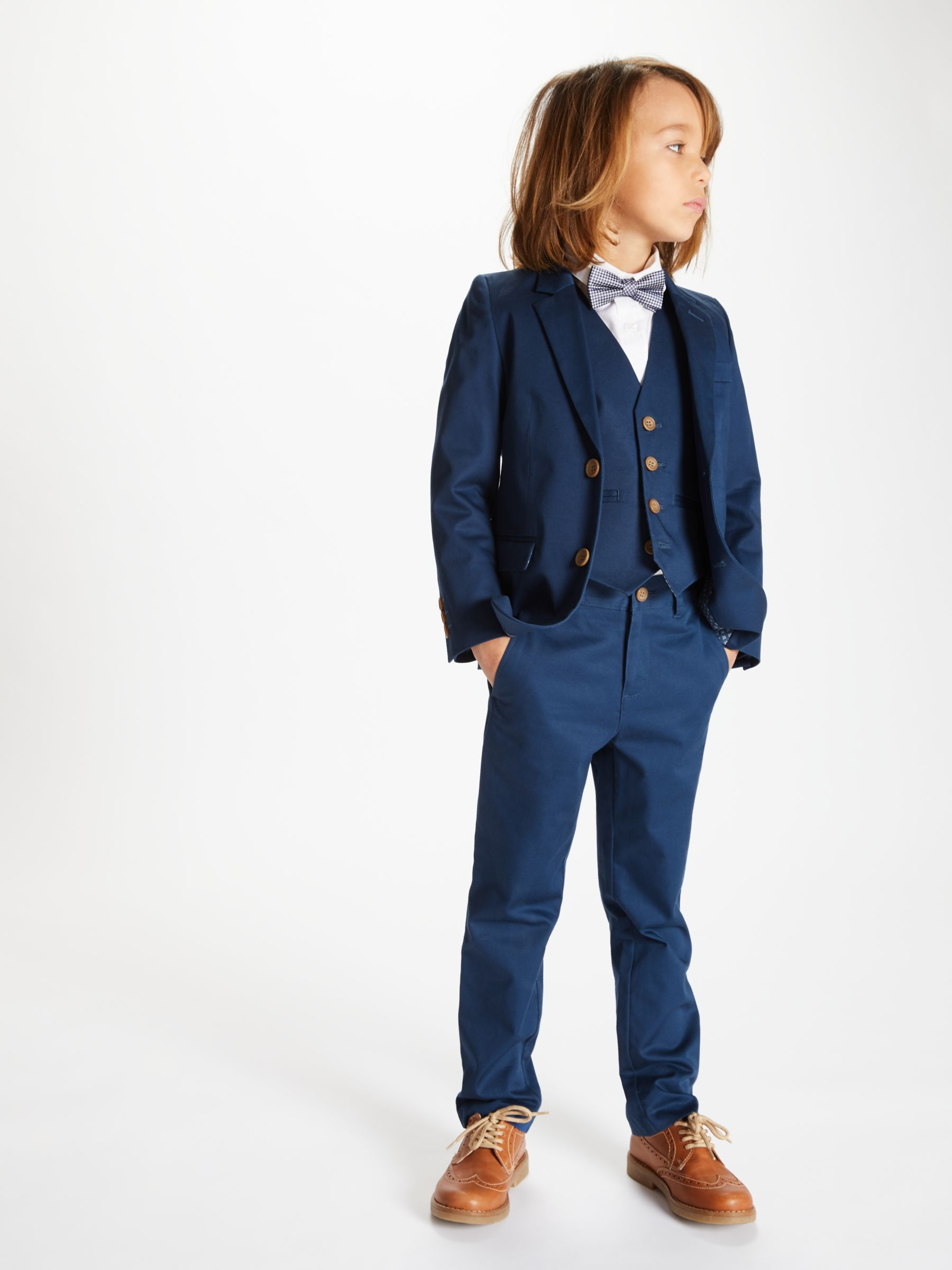 John Lewis Heirloom Collection Boys Cotton Sateen Suit Trousers Blue Aged 8 9 Boys Formal Occasion