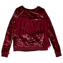 Buy Angel & Rocket Girls' Velvet Ruffle Applique Jumper, Red Online at johnlewis.com