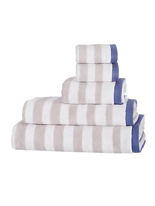 John Lewis & Partners Coastal Camber Stripe Towels, Silver Grey