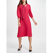 Buy John Lewis Piped Tie Neck Dress, Red Online at johnlewis.com