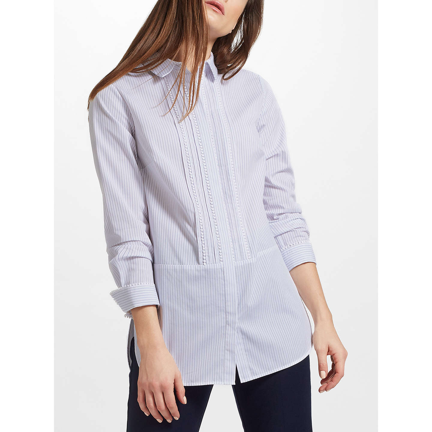 BuyJohn Lewis Stripe Pom Trim Shirt, Blue, 8 Online at johnlewis.com