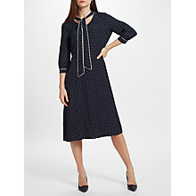 Buy John Lewis Piped Spot Tie Neck Dress, Navy Online at johnlewis.com