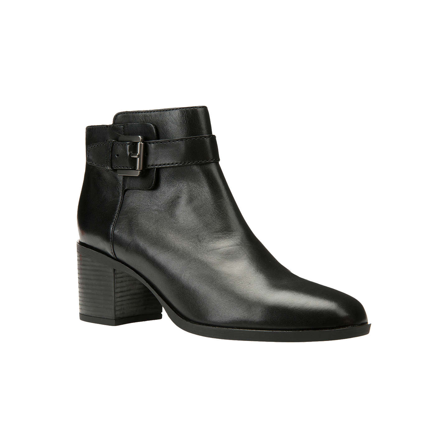 BuyGeox Glynna Buckle Block Heeled Ankle Boots, Black, 3 Online at johnlewis.com