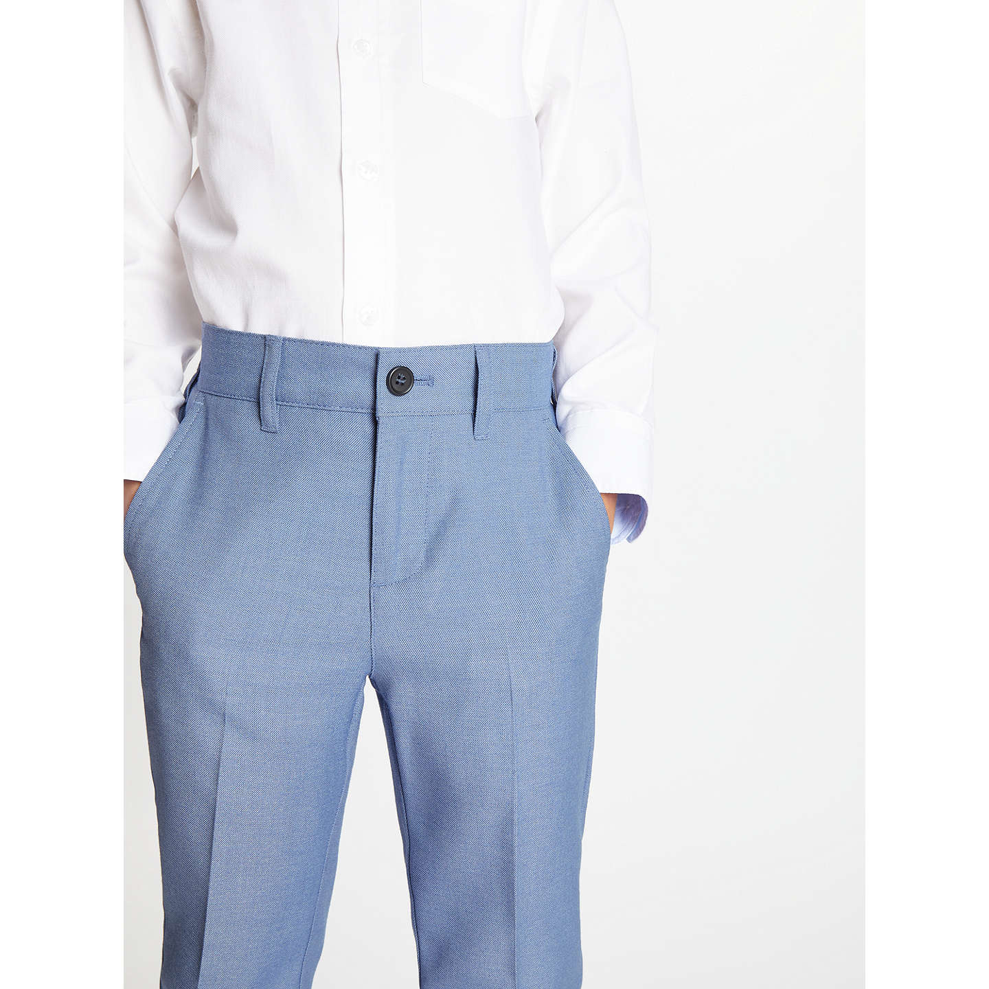 John Lewis Heirloom Collection Boys\' Suit Trousers, Mid Blue at John ...