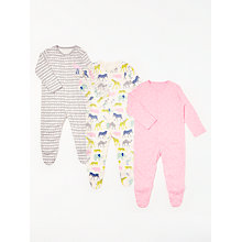 Buy John Lewis Baby Safari GOTS Organic Cotton Sleepsuit, Pack of 3, Multi Online at johnlewis.com
