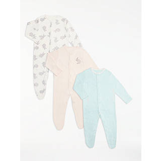 Easter toys soft cuddly chicks bunnies at john lewis john lewis baby long sleeve gots organic cotton bunnies sleepsuit pack of 3 multi negle Image collections