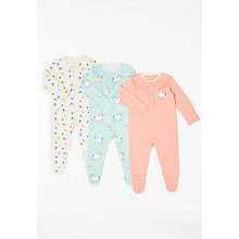 Buy John Lewis Baby Unicorn GOTS Organic Cotton Sleepsuit, Pack of 3, Multi Online at johnlewis.com