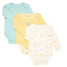 Buy John Lewis Baby GOTS Organic Cotton Long Sleeve Bodysuits, Pack of 3, Yellow/Multi Online at johnlewis.com