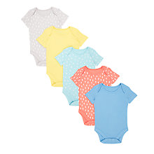 Buy John Lewis Baby GOTS Organic Cotton Short Sleeve Print Bodysuits, Pack of 5, Multi Online at johnlewis.com