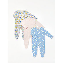 Buy John Lewis Baby Spot & Floral Organic GOTS Cotton Sleepsuit, Pack of 3, Blue/Multi Online at johnlewis.com