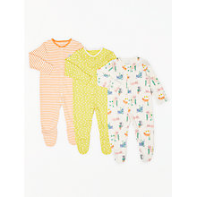 Buy John Lewis Baby Cats GOTS Organic Cotton Sleepsuit, Pack of 3, Multi Online at johnlewis.com