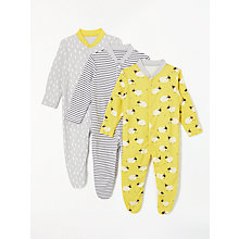 Buy John Lewis Baby Sheep GOTS Organic Cotton Sleepsuit, Pack of 3, Multi Online at johnlewis.com