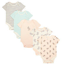 Buy John Lewis Baby GOTS Organic Cotton Short Sleeve Bunny Print Bodysuits, Pack of 5, Multi/Pink Online at johnlewis.com
