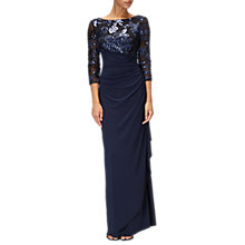 Buy Adrianna Papell Long Dress, Navy Online at johnlewis.com