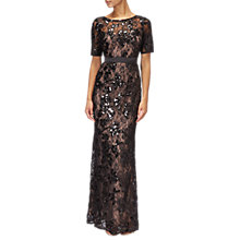 Buy Adrianna Papell Sequined Lace Long Dress, Black/Nude Online at johnlewis.com