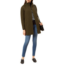 Buy Hobbs Harwood Long Sleeve Coat, Dark Khaki Online at johnlewis.com