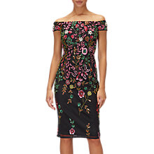 Buy Adrianna Papell Petite Floral Sheath Dress, Black/Multi Online at johnlewis.com