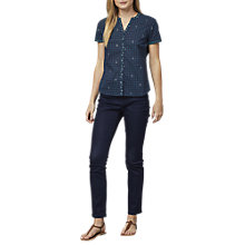 Buy East Handblock Print Miriam Blouse, Indigo Online at johnlewis.com