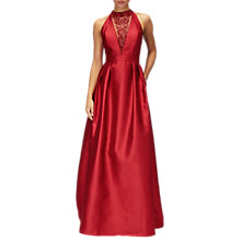 Buy Adrianna Papell Mikado Sleeveless V Neck Full Length Satin Dress Online at johnlewis.com