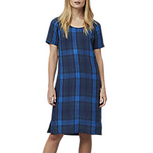 Buy East Linen Check Shift Dress, Indigo Online at johnlewis.com
