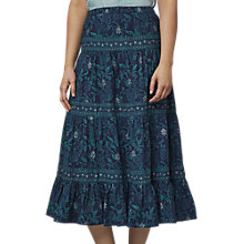 Buy East Handblock Miriam Tiered Skirt, Indigo Online at johnlewis.com