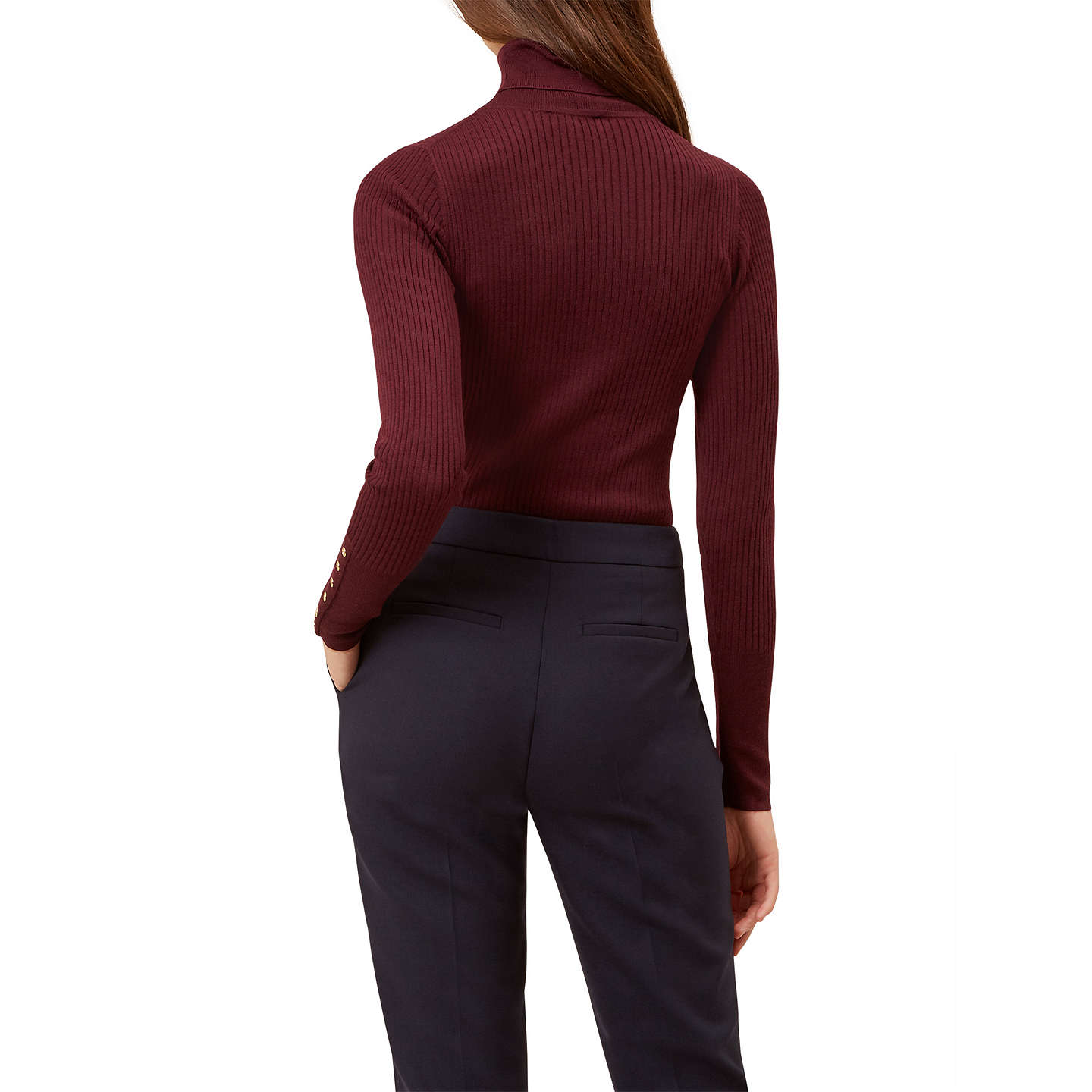 BuyHobbs Lara Ribbed Roll Neck Jumper, Mulberry, XS Online at johnlewis.com