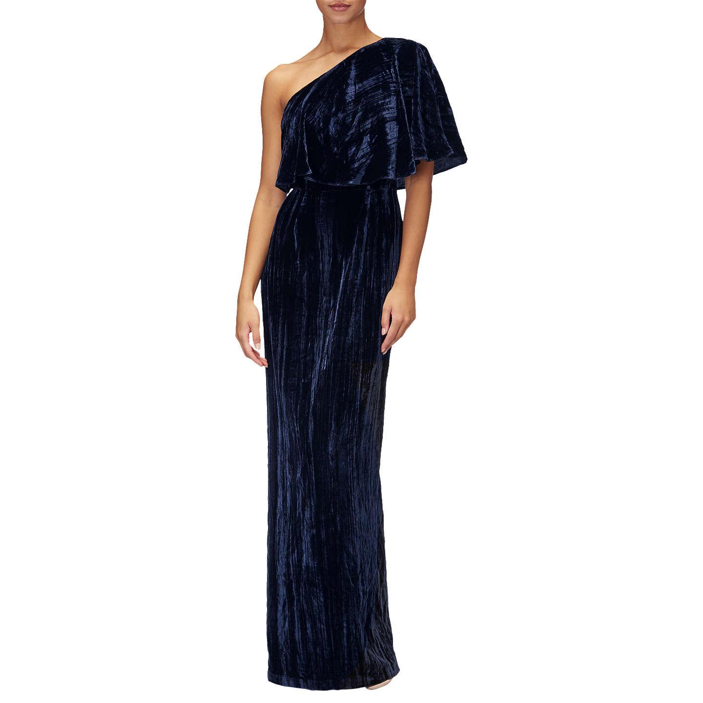 Adrianna Papell Plus Size Velvet One Shoulder Dress Navy At John Lewis