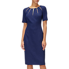 Buy Adrianna Papell Satin Crepe Spliced Sheath Dress, Navy Online at johnlewis.com