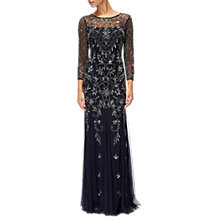Buy Adrianna Papell Three Quarter Sleeve Beaded Dress, Midnight/Lead Online at johnlewis.com