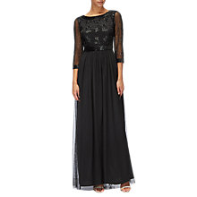 Buy Adrianna Papell Three Quarter Sleeve Beaded Bodice Gown, Black Online at johnlewis.com