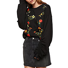 Buy Miss Selfridge Embroidered Ruche Jumper, Black Online at johnlewis.com