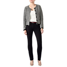 Buy Pure Collection Textured Knitted Jacket, Black/Soft White Online at johnlewis.com