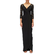 Buy Adrianna Papell Lace Sleeve V Neck Twist Bodice Long Dress, Black Online at johnlewis.com