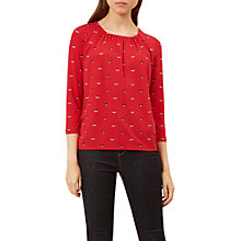 Buy Hobbs Viola Jersey T-Shirt, Crimson Multi Online at johnlewis.com