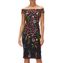 Buy Adrianna Papell Floral Sheath Dress, Black/Multi Online at johnlewis.com