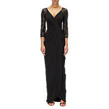Buy Adrianna Papell Long Lace Sleeved Dress, Black Online at johnlewis.com