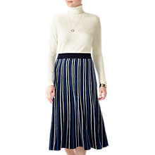 Buy Pure Collection Stripe Knitted Midi Skirt, Blue Online at johnlewis.com
