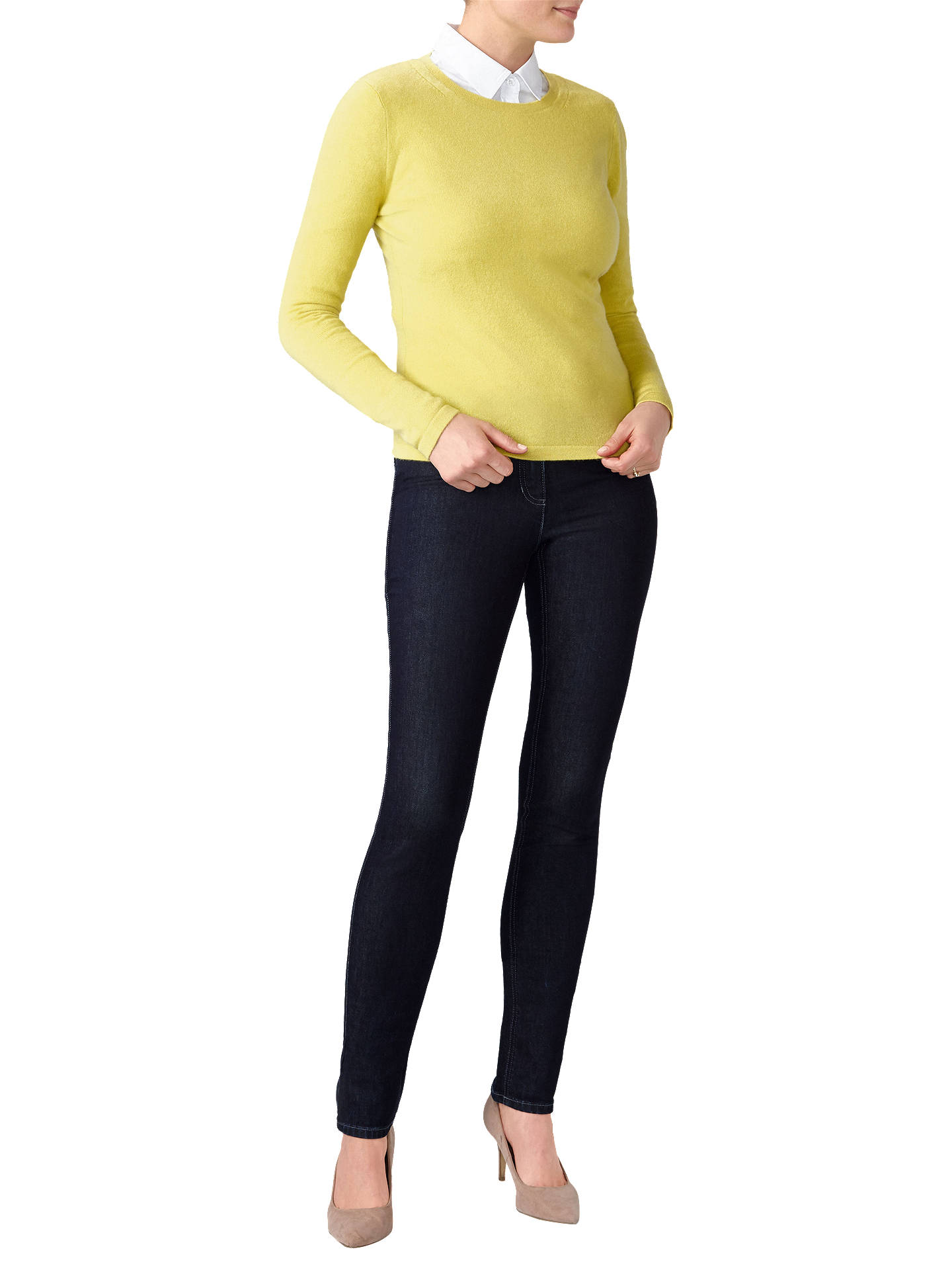 Buy Pure Collection Crew Neck Cashmere Jumper, Chartreuse, 8 Online at johnlewis.com