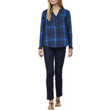 Buy East Linen Check Blouse, Indigo Online at johnlewis.com