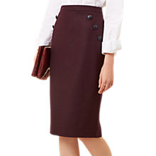 Buy Hobbs Andie Wool Blend Skirt, Dark Merlot Online at johnlewis.com