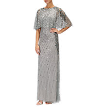 Buy Adrianna Papell Long Beaded Dress With Cape, Slate Online at johnlewis.com