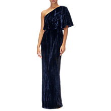 Buy Adrianna Papell Velvet One Shoulder Long Dress, Navy Online at johnlewis.com
