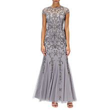 Buy Adrianna Papell Long Beaded Mermaid Dress, Silver/Grey Online at johnlewis.com