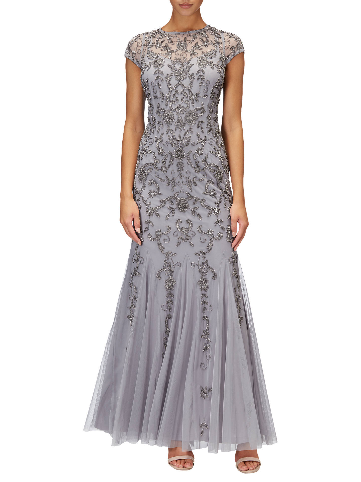 018f34367cfb9 Adrianna Papell Long Beaded Mermaid Dress, Silver/Grey at John Lewis ...