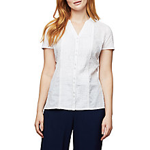 Buy East Lace Dobby Pintuck Blouse, White Online at johnlewis.com